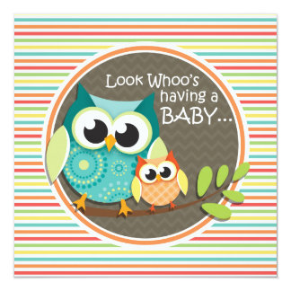 Cute Owls Baby Shower, Bright Rainbow Stripes Card