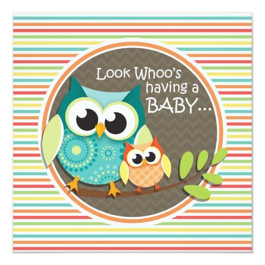 Cute Owls Baby Shower, Bright Rainbow Stripes Card