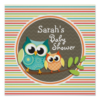 Cute Owls Baby Shower, Bright Rainbow Stripes Posters
