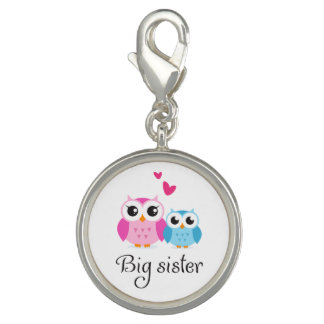 Cute owls big sister little brother cartoon