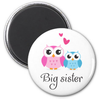 Cute owls big sister little brother cartoon 6 cm round magnet