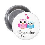 Cute owls big sister little brother cartoon pinback buttons