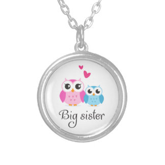 Cute owls big sister little brother cartoon round pendant necklace