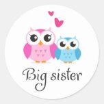 Cute owls big sister little brother cartoon round sticker