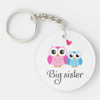 Cute owls big sister little brother cartoon Single-Sided round acrylic key ring