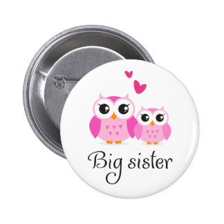 Cute owls big sister little sister cartoon 6 cm round badge