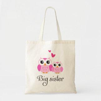 Cute owls big sister little sister cartoon budget tote bag