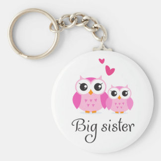 Cute owls big sister little sister cartoon key ring