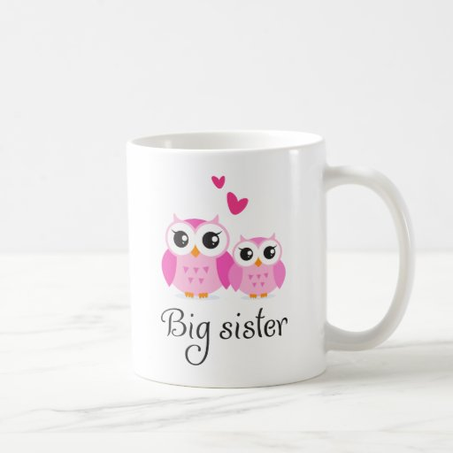 Cute owls big sister little sister cartoon coffee mugs