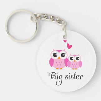 Cute owls big sister little sister cartoon Single-Sided round acrylic key ring