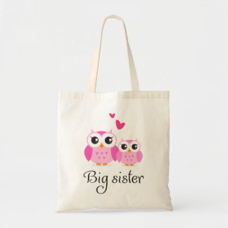 Cute owls big sister little sister cartoon tote bag