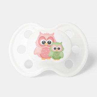 Cute Owls Branch Birds Mint Green Pink Baby Pacifiers