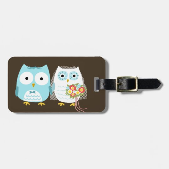 Cute Owls Bride and Groom with Customisable Text