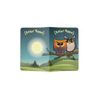 Cute Owls Cartoon Passport Holder