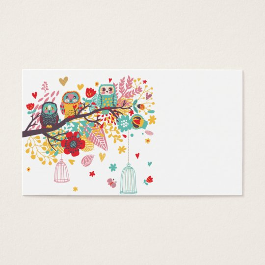 Cute Owls colourful floral hearts background Business Card