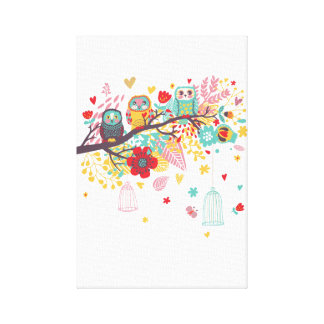 Cute Owls colourful floral hearts background Canvas Print