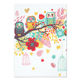 Cute Owls colourful floral hearts background Card