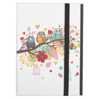 Cute Owls colourful floral hearts background Cover For iPad Air