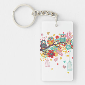 Cute Owls colourful floral hearts background Key Ring