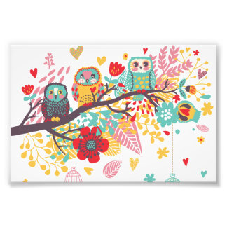 Cute Owls colourful floral hearts background Photograph