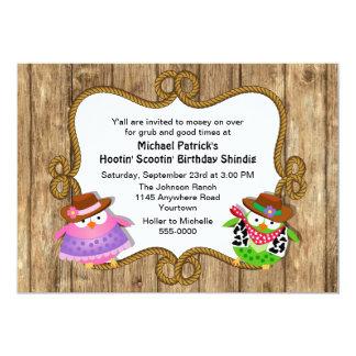 Cute Owls Country Western Birthday Invitation