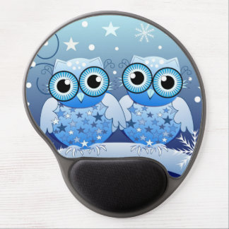 Cute Owls couple in winter / snow environment Gel Gel Mouse Mat