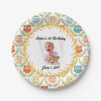 Cute Owls Custom Photo Party Plates