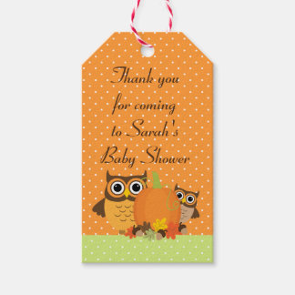 Cute Owls Fall Baby Shower Thank You Tags