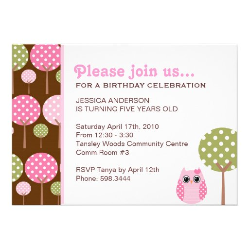 Cute Owls Girls Birthday Party Invitation
