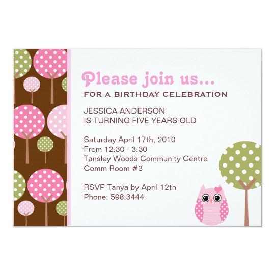 Cute Owls Girls Birthday Party Invitation