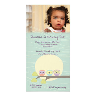Cute Owls Girls Birthday Party Premium Invite Photo Card Template