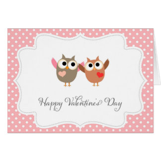 Cute Owls Happy Valentine's Day Card