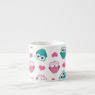 Cute Owls & Hearts Expresso Mug 6 Oz Ceramic Espresso Cup