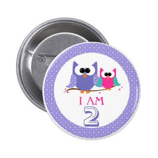 Cute Owls I Am 2 Birthday Button