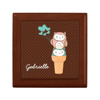 Cute Owls Ice Cream Cone Small Square Gift Box