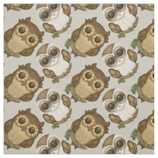 Cute Owls Illustration Fabric