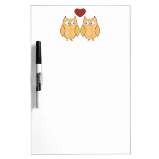 cute owls in love dry erase board