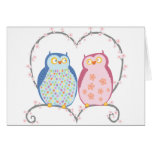 Cute Owls in Love Heart Pink Blue Clipart