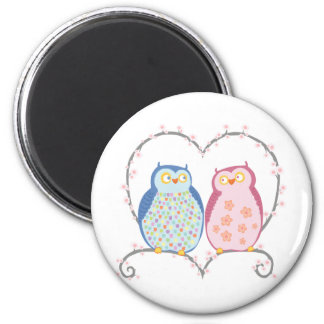 Cute Owls in Love Heart Pink Blue Clipart 6 Cm Round Magnet