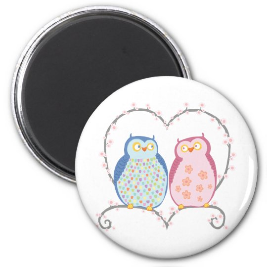 Cute Owls in Love Heart Pink Blue Clipart Magnet