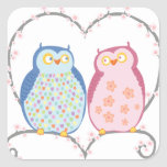 Cute Owls in Love Heart Pink Blue Clipart Square Sticker
