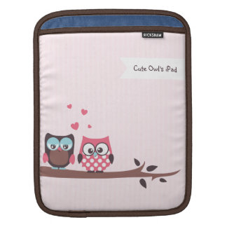 Cute Owls in Love (stripes and polka dots) iPad Sleeve