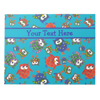 Cute Owls Notepad or Jotter, Red, Blue, Green