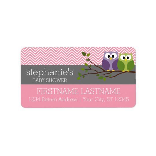 Cute Owls on Branch Baby Girl Shower Pink Address Label