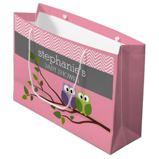 Cute Owls on Branch Baby Girl Shower Pink Large Gift Bag