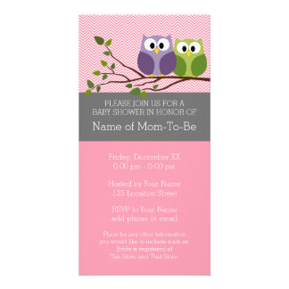 Cute Owls on Branch Baby Girl Shower Pink Photo Cards