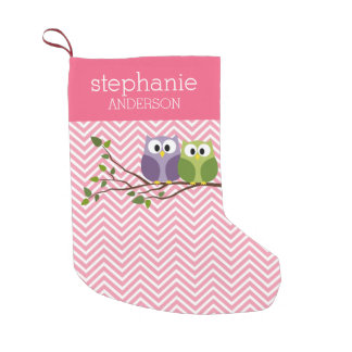 Cute Owls on Branch Baby Girl Shower Pink Small Christmas Stocking