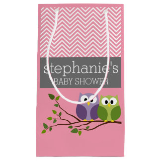 Cute Owls on Branch Baby Girl Shower Pink Small Gift Bag