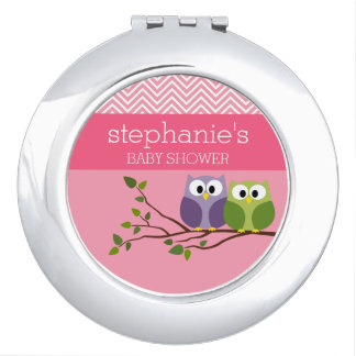Cute Owls on Branch Baby Girl Shower Pink Travel Mirror