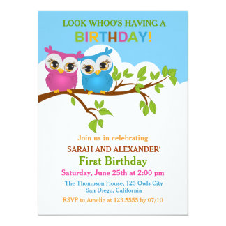 Cute Owls on Branch Twins Birthday Party Invite